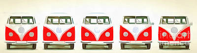 Campers Digital Art - Vw Bus Line Up Painting by Edward Fielding