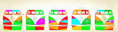 Campers Digital Art - Vw Bus Line Up Pop Art by Edward Fielding