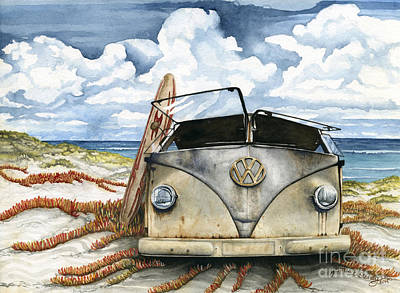 Rustic Realism Painting - Vw Bus On The Beach by James Stanley