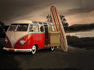 Mixed Media - Vw Bus Sufrboard Beach Collection by Marvin Blaine