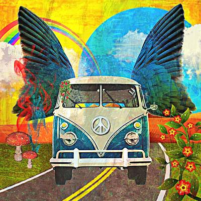 Ally Mixed Media - Vw Bus Trip by Ally  White