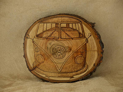 Pyrography Pyrography - Vw Camper Bus by Brian Case