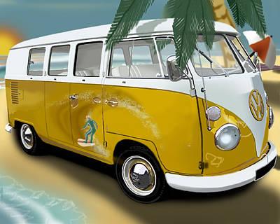 Digital Art - Vw Campervan Surfs Up by Richard Herron