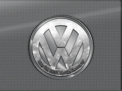 Digital Art - Vw Car Metal Logo by Carlos Diaz