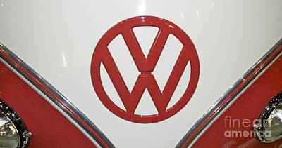 Photograph - Vw Emblem In Red by Pamela Walrath
