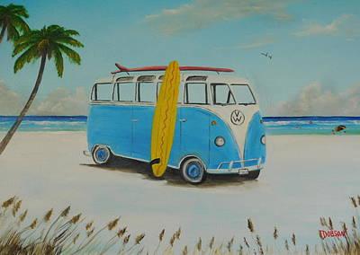 Painting - Vw Surf Board Van by Lloyd Dobson