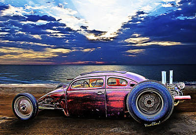 Rat Rod Surf Monster At The Shore Art Print