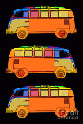 Bus Photograph - Vw Surfer Van 3x by Edward Fielding