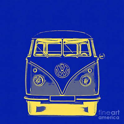 Vw Van Blue Yellow Graphic Art Print by Edward Fielding