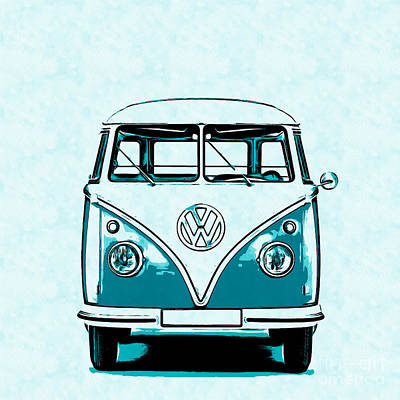 Colorful Art Drawing - Vw Van Graphic Artwork by Edward Fielding
