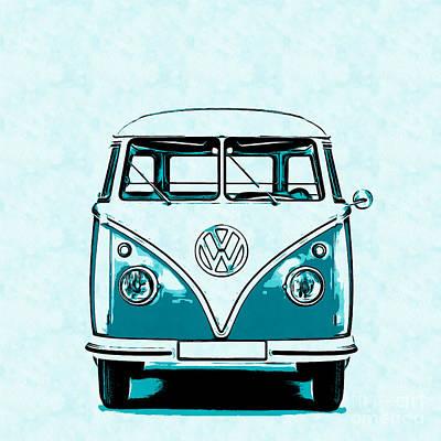 Kombi Digital Art - Vw Van Graphic Artwork by Edward Fielding