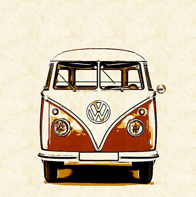 Campers Digital Art - Vw Van Graphic Artwork Orange by Edward Fielding