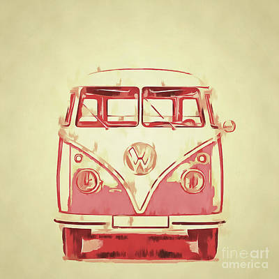 Campers Digital Art - Vw Van Graphic Artwork Yellow Red by Edward Fielding
