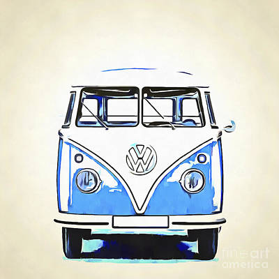 Campers Digital Art - Vw Van Pop Artwork Blue by Edward Fielding