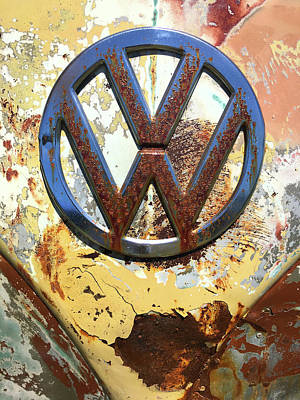 Photograph - Vw Volkswagen Emblem With Rust by Kelly Hazel