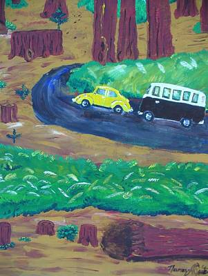 Vw Beetle Drawing - Vws In The Redwoods by Nancy Suiter