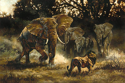 Tusk Painting - Vying For The Throne by Heather Theurer