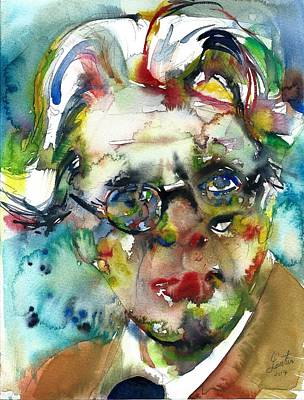 Painting - W. B. Yeats - Watercolor Portrait.4 by Fabrizio Cassetta