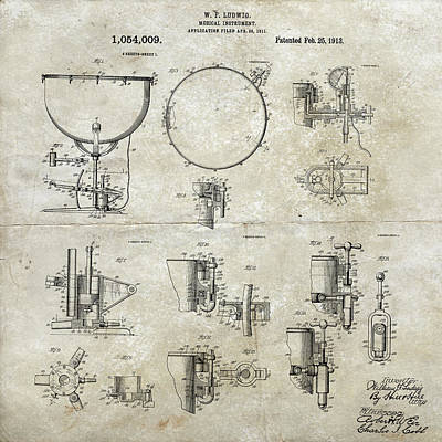 Digital Art - W F Ludwig Kettle Drum Patent by Paulette B Wright