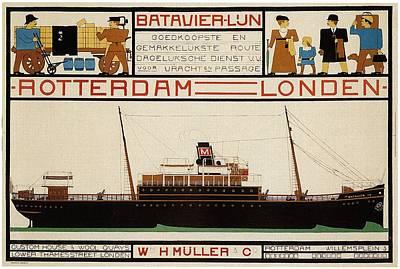 Painting - W H Muller - Ocean Liner - Rotterdam To London - Vintage Advertising Poster by Studio Grafiikka