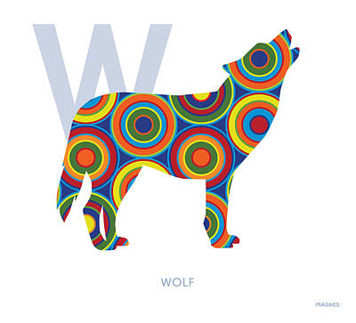 Dog Abstract Art Digital Art - W Is For Wolf by Ron Magnes