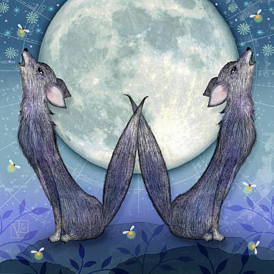 Bug Digital Art - W Is For Wolves by Valerie Drake Lesiak