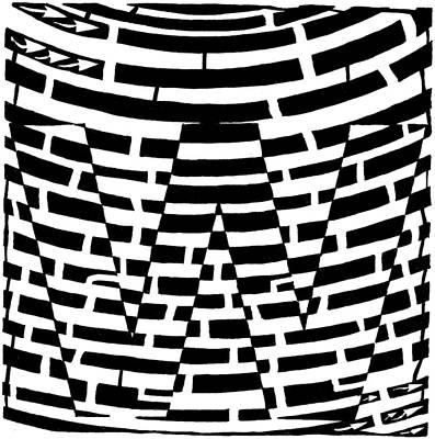 Alphabet Mazes Drawing - W Maze by Yonatan Frimer Maze Artist