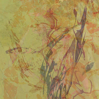 Digital Art - Wabi Sabi Ikebana Rose On Yellow Green by Kristin Doner