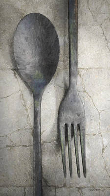 Diners Digital Art - Wabi Sabi Utensils by Cynthia Decker