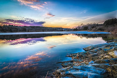 Photograph - Wachusett Reservoir Sunset by Bob Bernier