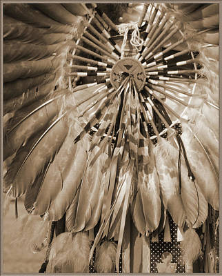 Print featuring the photograph Wacipi Dancer In Sepia by Heidi Hermes