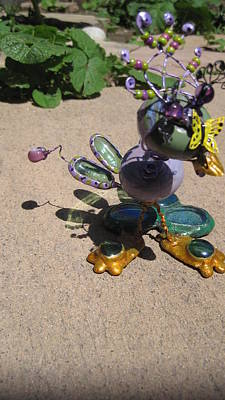 Sculpture - Wacky Green Purple Bird by Maxine Grossman