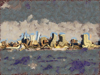 Mixed Media - Wacky Philly Skyline by Trish Tritz