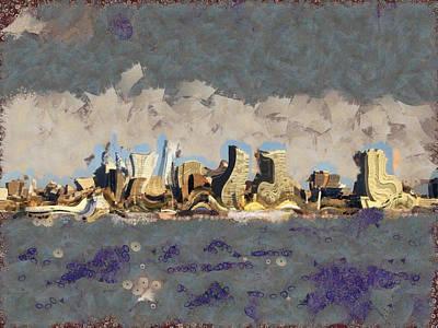 Skylines Mixed Media - Wacky Philly Skyline by Trish Tritz