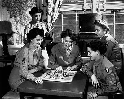 Photograph - Wacs In Day Room At Dorm 1946 by Ed Westcott