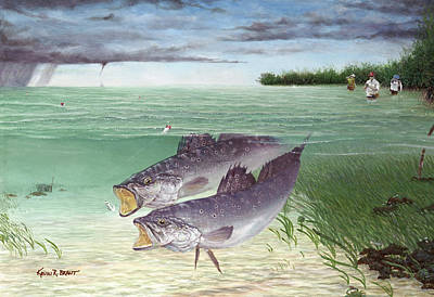 Speckled Trout Painting - Wade Fishing For Speckled Trout by Kevin Brant
