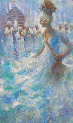 Black Gospel Painting - Wade In The Water by Gertrude Palmer