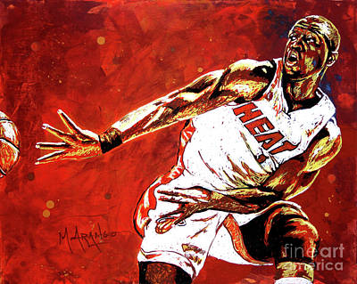 Basketball Hoop Painting - Wade Passes by Maria Arango