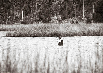 Photograph - Wading Fisherman Black And White by Debra Forand