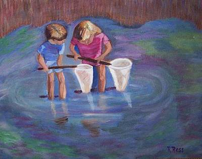 Lilly Pond Painting - Wading For Minnows by Roberta Ress