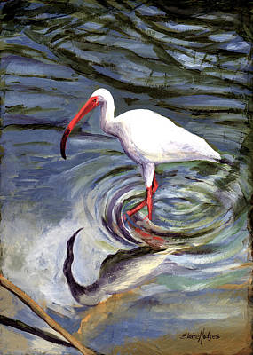 Ibis Painting - Wading Ibis by Elaine Hodges
