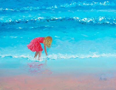 Beach Scene Painting - Wading by Jan Matson