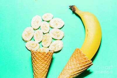 Royalty-Free and Rights-Managed Images - Waffle cones with fresh banana by Jorgo Photography