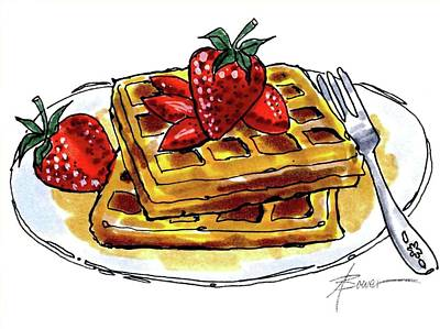 Painting - Waffles And Strawberries by Adele Bower