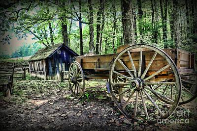 Wagon At The Cabin Art Print