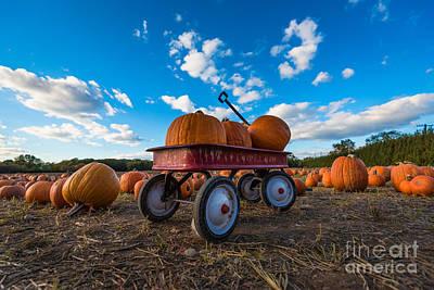 Wagon At The Pumpkin Patch Art Print