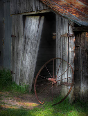 Photograph - Wagon Wheel And Barn Door by David and Carol Kelly