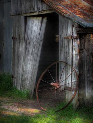 Photograph - Wagon Wheel And Barn Door by David and Carol Kelly