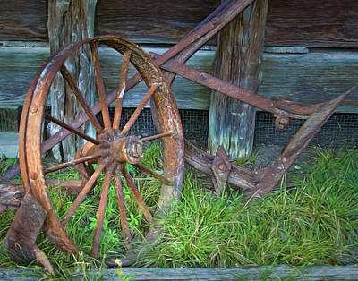 Photograph - Wagon Wheel And Fence by David and Carol Kelly