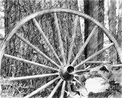 Wagon Wheel In Pencil Art Print by Smilin Eyes  Treasures